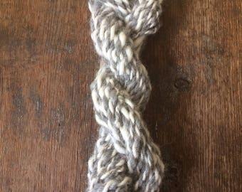 White and grey pudgy alpaca handspun yarn, pudgy yarn, miniskein, weaving yarn, 22 yards of bulky yarn, undyed art yarn, grey and white