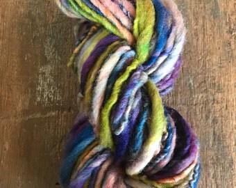 Rainbow Slushie - handspun bulky yarn, 54 yards, bulky yarn, rustic art yarn, chunky yarn, wool handspun yarn
