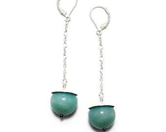 ON SALE Long Chain and Gemstone Bead Dangle Earrings