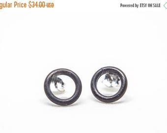 ON SALE Mini Stud Minimalist Earrings, Small Round Black Studs, Oxidized Circle Earrings