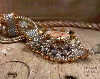 Ocean Jasper necklace beadweaving bead embroidery spiral herringbone crystal necklace