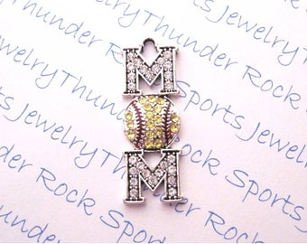 SOFTBALL MOM CHARM, Antique Silver, yellow gold crystals, Pendants, enamel red laces, Sports jewelry, ball