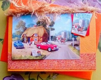 Birthday Card, Bygone Days, 1950's Image, Kevin Walsh Male/Female Card Retro vintage car Birthday Card
