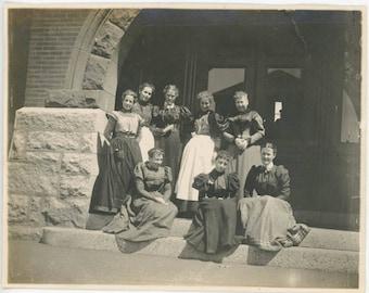 vintage photo 1890s Group women Davol School Fall River Mass
