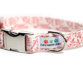 Personalized Coral dog collar, Floral Dog Collar, Engraved Collar optional,  Personalized Dog Collar option, Whispering Floral