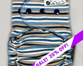 SALE! Custom Cloth Diaper or Cover - Blue White Tan Mini Stripes - You Pick Size and Style -  Made to Order Nappy or Wrap - Tan Navy Striped