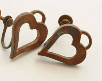 Heart earrings. Copper, heavily oxidized. Sold by the pair. Old time screw back earrings.