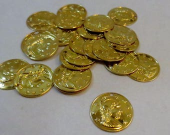 Gold-Plated Brass 16mm Stamped Roman Coin Replica Charms, Wholesale Beads