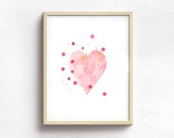 Pink Heart Nursery Decor Watercolor Print, Baby's Room Wall Art Decor, Heart Print, Baby Wall Art, Nursery Watercolor Print, Baby's Room Art