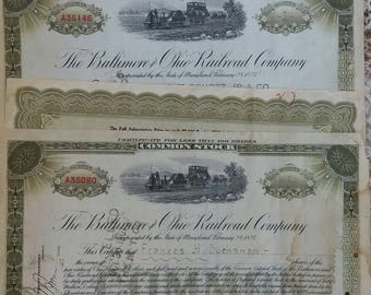1907..1930 Two Baltimore and Ohio Railroad Stock Certificates