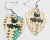 Guitar Pick Earrings---Woodstock Music Festival Bird and Guitar Silhouette