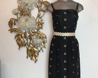 Fall sale 1950s dress wiggle dress 50s dress black dress size x small Vintage dress embroidered dress hourglass dress satin dress
