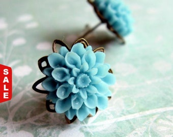 Blue Flower Post Earrings, Flower Post Earrings, Gift for Her Jewelry