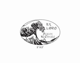 Xmas in July The Great Wave Custom Ex Libris Bookplate Library Rubber Stamp O29
