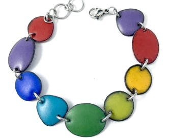 Chakra Rainbow Matte Enamel Bracelet with stainless steel jumprings and lobster clasps Purple, Cobalt, Turquoise, Green, Pear, Mango, Red