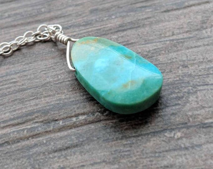 Turquoise and Sterling Silver Littles Necklace Talisman OOAK Good Luck Minimalist Gift Under 100