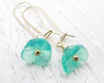 aqua flower earrings, drop earrings, dangle earrings, gold and aqua earrings, bridesmaid earrings, opal glass earrings, wedding jewelry,