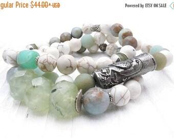 Peruvian opal bracelet, bird bracelet, white turquoise bracelet, boho bracelet, amazonite, green garnet, sterling silver, bird jewelry