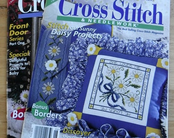 Lot of 2 Cross Stitch and Needlework magazines, vintage cross stitch embroidery patterns, Better Homes and Gardens Christmas winter floral