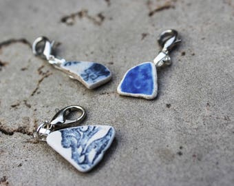 Sea Pottery Shard Progress Keeper or Stitch Marker