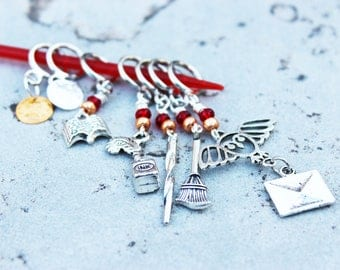 A Letter from Hogwarts & A Visit to Diagon Alley - Silver Harry Potter Non-Snag Stitch Markers