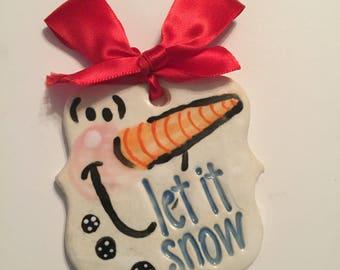 Hand Painted ceramic snowman ornament