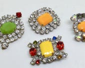 Vintage Czech Rhinestone Buttons Set of Four