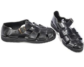 Woven Black Fisherman Sandals 80s Women Nerdy Vintage Leather Gladiator Sandals Wide Fit Retro US women 8 5 UK 6 EUR 39