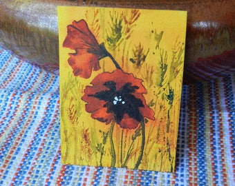Poppy Field Painting ACEO Collectible Original Miniature Art, Red Poppies on Yellow, Cheerful Flower Gift, Enclose With Get Well, Care Card