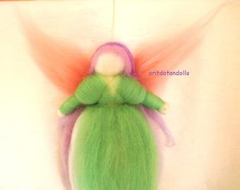 Wool blessing fairy art doll Waldorf education in green