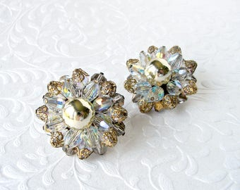 Big Crystal Cluster Beaded Earrings Clip Back Costume Jewelry 1950's Bead Gold Tone Formal Evening Prom Pageant Mother of Bride Groom MOH