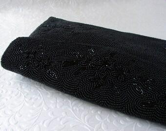 Vintage 1950s Black Beaded Envelope Clutch Jet Glass Bead Purse Floral Formal Evening Bag Cocktail Party Handbag Wedding Prom Made in Japan