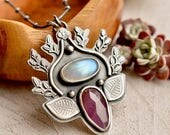 Summer Sale Pink Sapphire Pendant, Rainbow Moonstone Necklace, Modern Metalwork, Nature Inspired, Hand Stamped Silver Leaf Pendant, Botanica