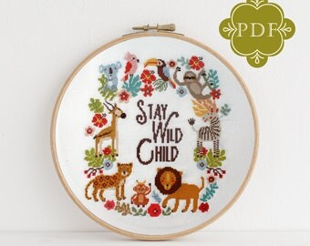 PDF Counted Cross Stitch - Big Jungle / sloth cross stitch, lion, diy, how-to, parrot, pattern, gift, instruction, baby, nursery