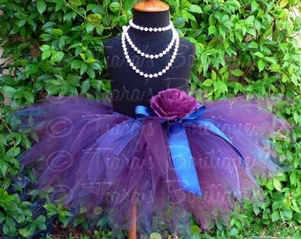 "SUMMER SALE 20% OFF Flower Girl Tutu Skirt - Navy Blue and Eggplant Purple Tutu for Weddings - Regal - Sewn 11"" Pixie Tutu - up to 5T"