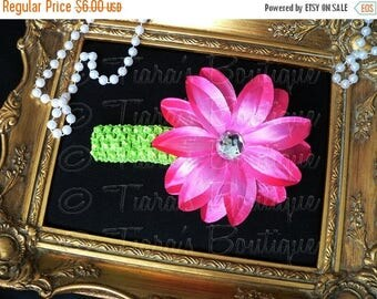 SUMMER SALE 20% OFF Pink and Green Girls Headband Photo Prop - Hot Pink Lily w/ Rhinestone Center on Lime Headband - Flower Headband Made to