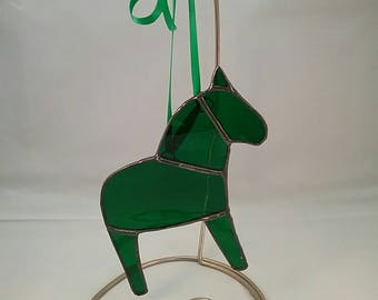 Christmas Green Dala Horse Ornament, Swedish Christmas Ornament, Tiffany Style Stained Glass Horse, Swedish Custom