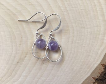 Silver Colored and Amethyst Bead Drop Dangles. Tear Drop. Earrings. Purple Gem Stone.