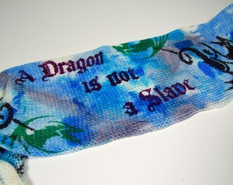 "Game of Thrones Inspired Sock blank - ""A Dragon is not a Slave"" *** Double sock blank**DYED TO ORDER"