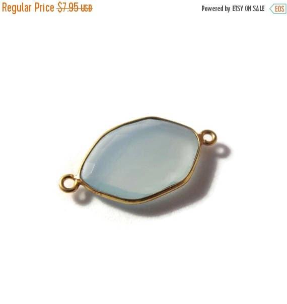 SALE 50% off - One Blue Gemstone Pendant, Light Blue Chalcedony Gemstone Charm, Gold Plated Bezel, 26mm x 14mm, Jewelry Supplies (C-Ch1b)