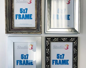 SALE! Lot of 4 Silver Wood Photo Frames - Fits a 5x7 Photo