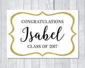 Graduation Party 20x30 Custom Printable Sign Black, White and Gold Glitter - Instant Download - RESERVED FOR LIKA