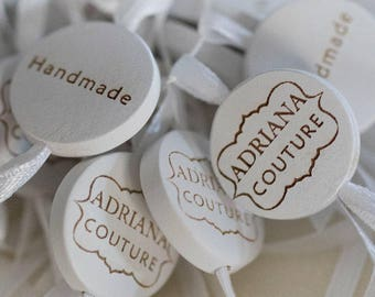 100 Custom wooden tags / labels garment tags personalized labels