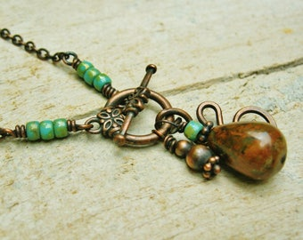 Copper Lariat Necklace with African Green Opal teardrop bead and hammered copper- front close necklace