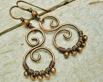All Copper Wire Wrapped, Hammered and Beaded antiqued dangle earrings