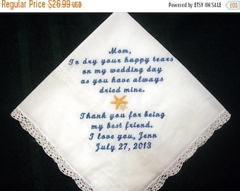 ON SALE Mother of the Bride with Starfish and gift box, includes shipping in the US 148S Personalized Wedding Handkerchief