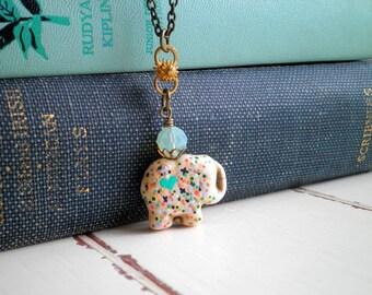 Stone Elephant Pendant - Bohemian Hand Painted Graffiti Dot Art Long Chain Charm Necklace - Wire Wrapped Miniature Animal Totem Jewelry Gift
