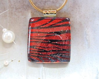 Red Necklace, Black, Dichroic Glass Jewelry, Zebra, Fused Glass, Glass Pendant, Necklace Included, A6