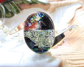 Silver Plated Dichroic Glass Cuff Bracelet, Blue, Green, One of a Kind