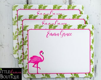Flamingo Notecards, Flamingo Stationery, Flat notecards, Tropical Leaves, Thank you Notes, Tropical stationary